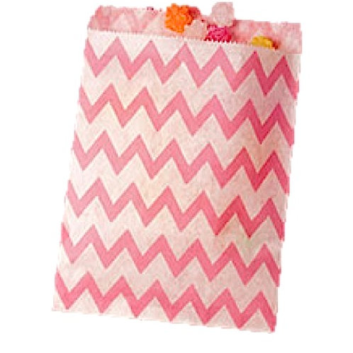 Patterned Bags - LARGE - Light Pink Chevron