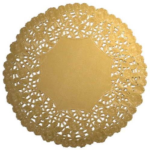 "10913 4"" Gold Lace Doilies Packaged"