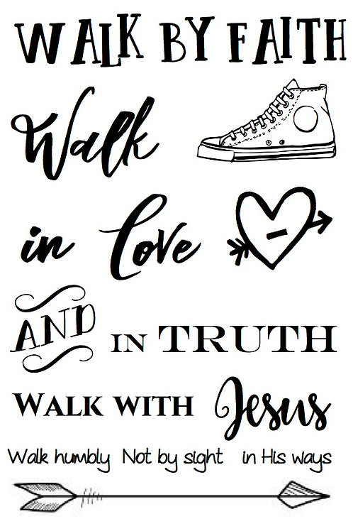 Walk by Faith - Bible Journaling Stamp