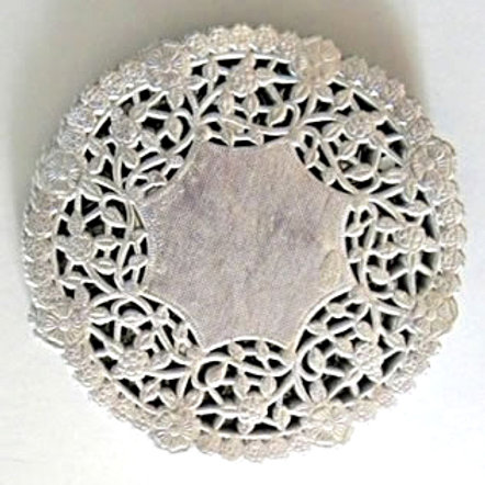 "10914 4"" Silver Lace Doilies Packaged"