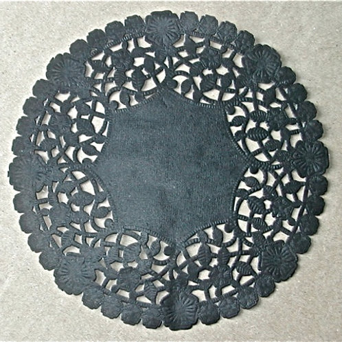 "10919 6"" Black Lace Doilies Packaged"