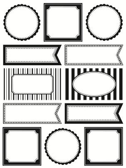 63006 Black & White Blank Labels by the Dozen