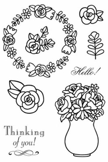 Floral Hello - Jane's Doodles Stamp