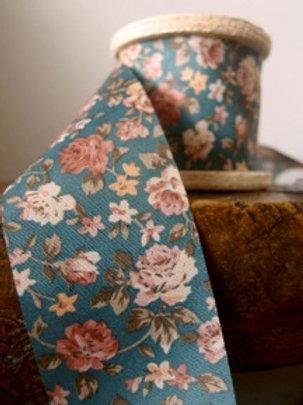 Floral Fabric Ribbon, Grey/Orange