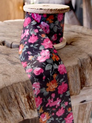Floral Fabric Ribbon, Black/Pink