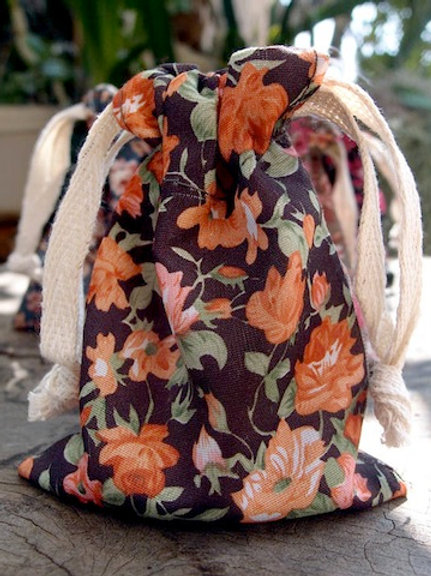 Floral Fabric Bag, Brown/Orange
