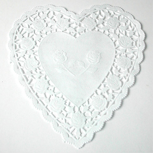 "10916 6"" White Heart  Doilies Packaged"