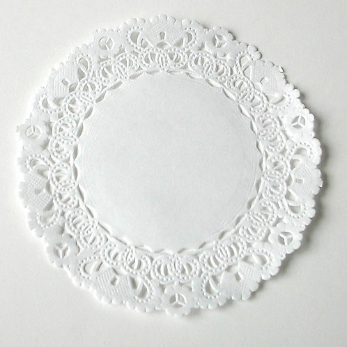 "10912 4"" White Lace Doilies Packaged"