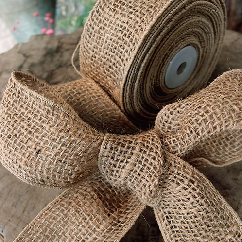 Wired Burlap Ribbon, 2 inches x 10 yards