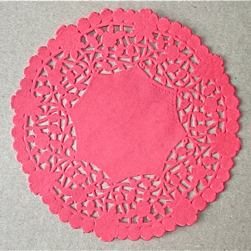 "10921 6"" Red Lace Doilies Packaged"
