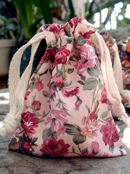 Floral Fabric Bag, Pink/Light Pink