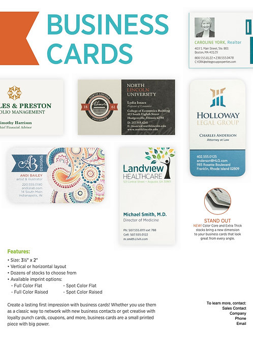 Full Color Business Cards - Raised Printing