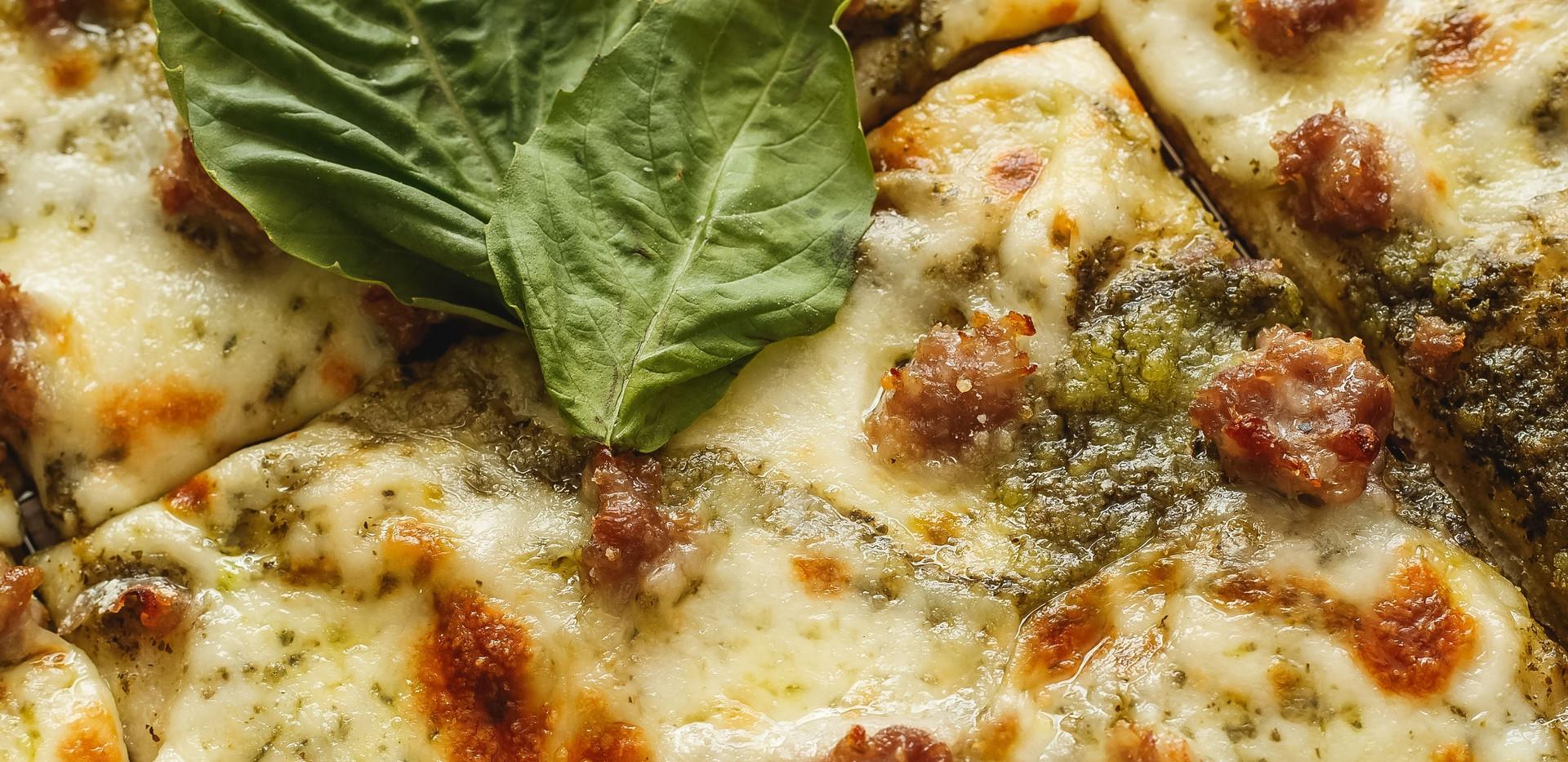 Sausage and Pesto Pizza