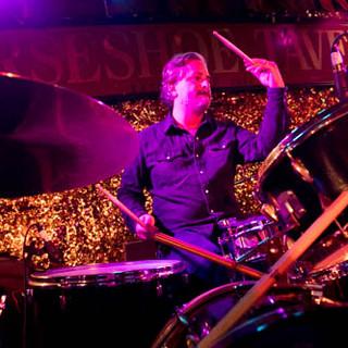 Devin on drums.