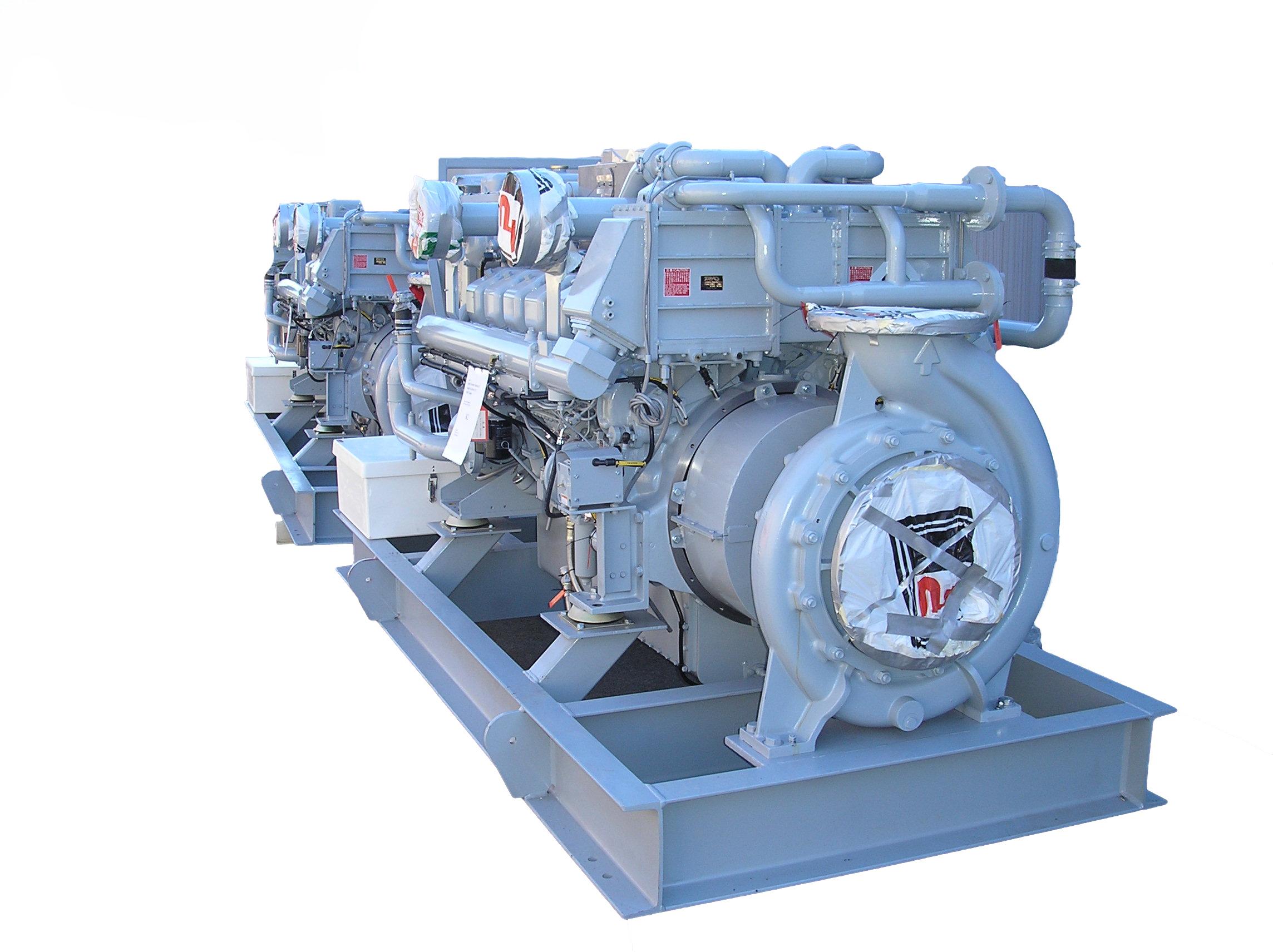 Skidd med motor og pumpe