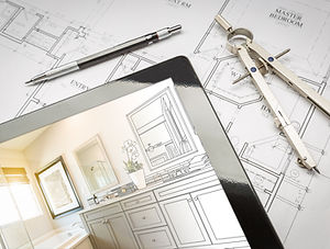 Computer Tablet with Master Bathroom Des