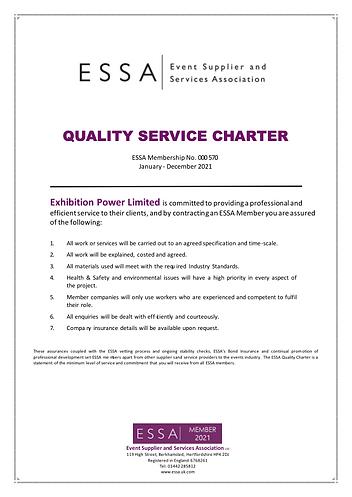 Exhibtion Power ESSA Quality Service Charter