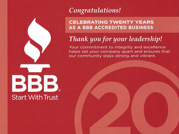 Congratulations Franklin and Associates Design - Build, Celebrating 20 Years as a BBB Accredited Bus