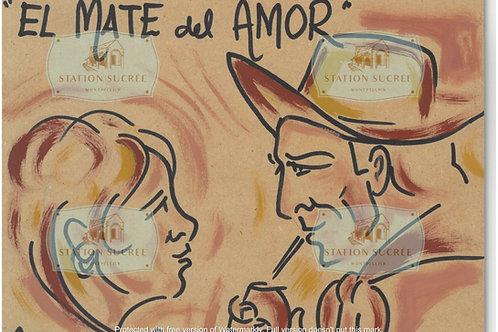 Peinture en bois -  El Mate del Amor (format paysage)