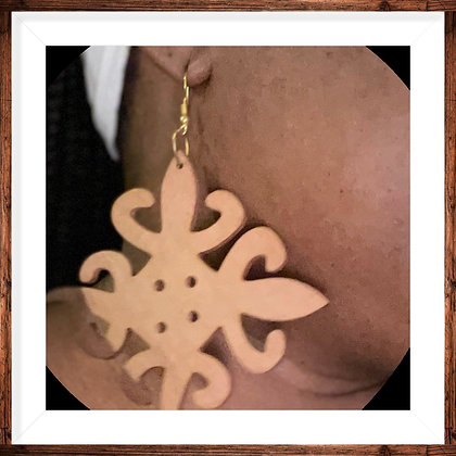 Wooden Adinkra Symbol Earrings