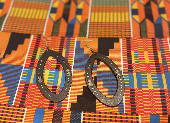 Tribal Wooden Drop Earrings