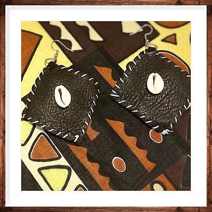 Yafeu Handcrafted Leather Afrikan Earrings