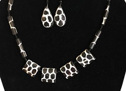 Bone Necklace & Earrings