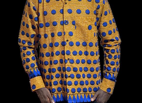 Mens Long Sleeve African Print Shirt