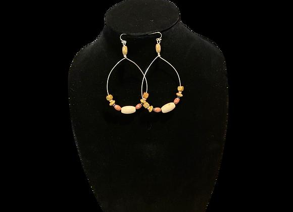 Handcrafted Wood Beads Dangle Earrings
