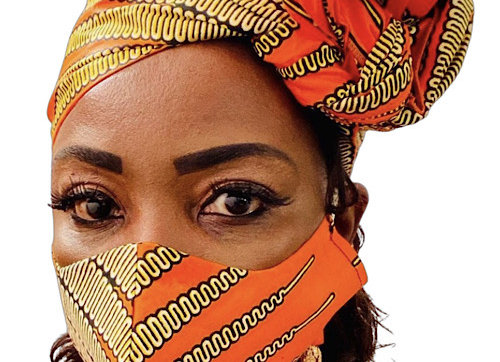 African Print Headwrap and Face Mask Set