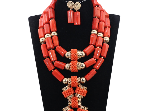 Nigerian Coral Beads Jewelry Set