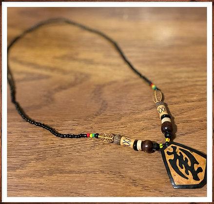 Adinkra Symbol Wooden Pendant Necklace