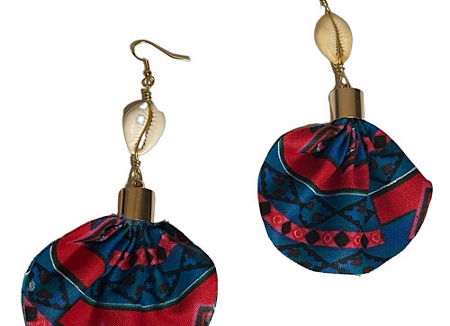 African Print Cowrie Shell Earrings