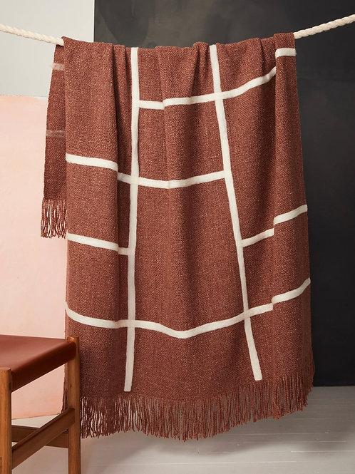 Handwoven Merino Wool Throw -Rust and Cream
