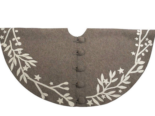 Hand-Felted Wool Tree Skirt- Taupe Grey and Cream