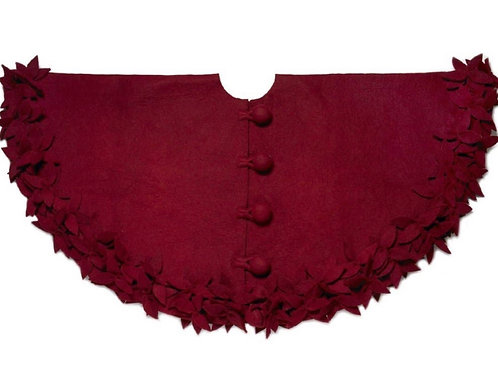 Hand-Felted WoolTree Skirt -Claret