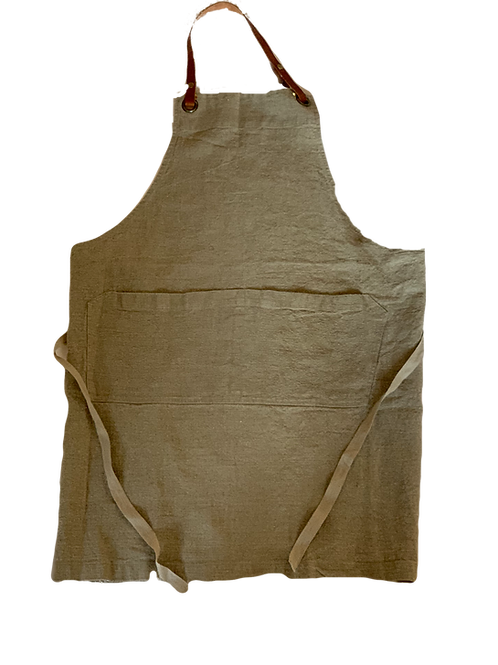Flax Washed Linen Apron with Leather Neck Strap