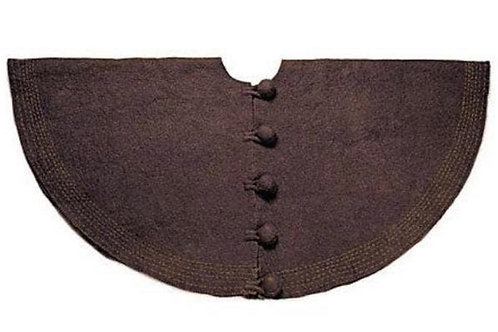Hand-Felted Wool Tree Skirt- Brown and ChartreuseStitching