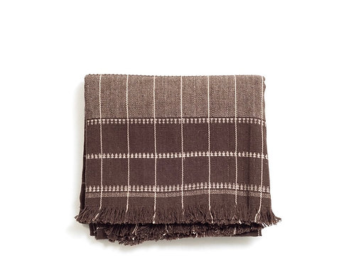 Handwoven Check in Cream and Coffee Brown -Cotton