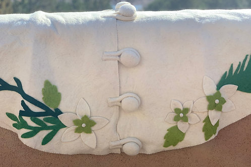 Hand- Felted Wool Tree Skirt -Cream w Green Branches and Flowers