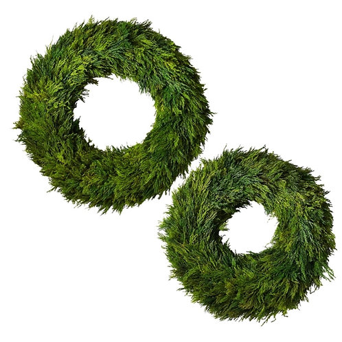 Preserved Cypress Wreaths -Large and Medium