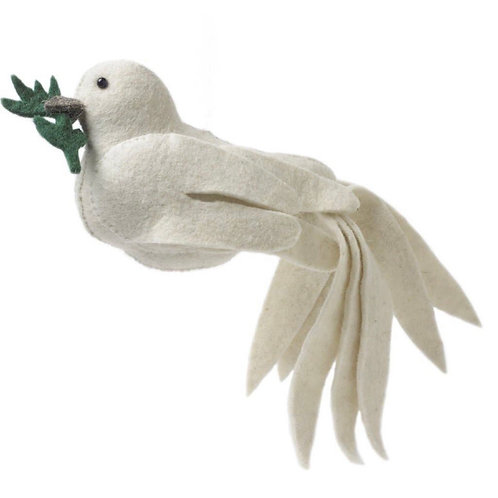 Hand-Felted Dove w Olive Branch Tree Topper