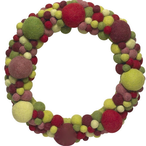 Hand Felted Wool Wreath -Multi-Colored spheres