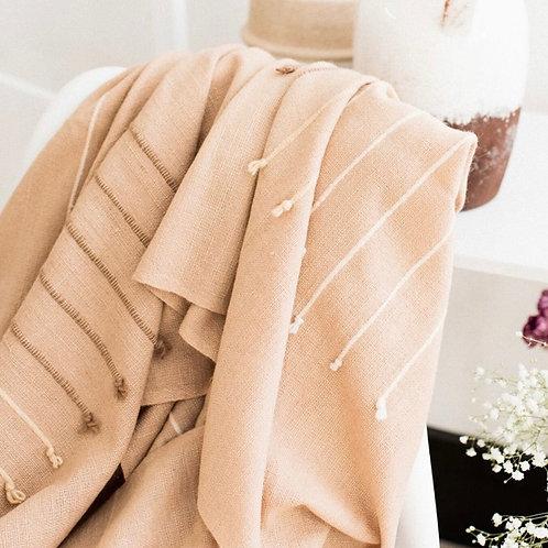Handspun, Lightweight Merino Wool and Cotton Throw