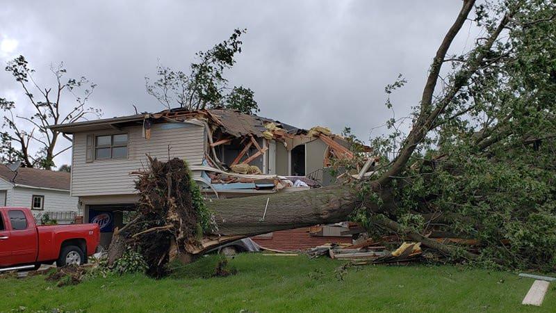 Home damaged in Marshalltown, via Aaron Gerhardt