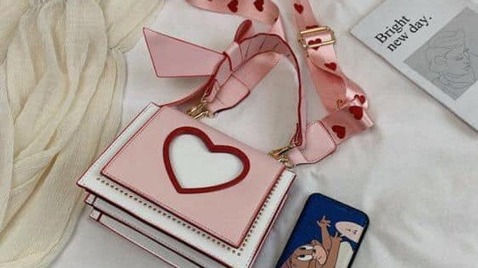 Pink & White Heart Ribbon Fashion Purse For Girls