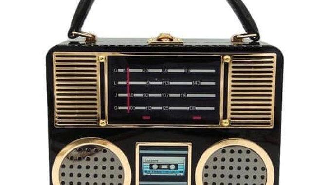 Black & Gold Radio Fashion Purse