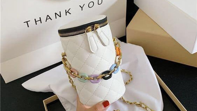 Elegant White Cylinder Fashion Purse w/Color Block and Gold Chain
