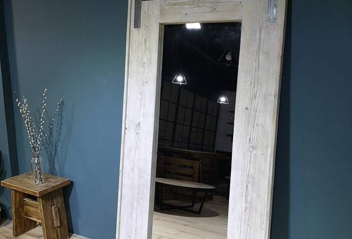 Reclaimed Floor Mirror - White Washed