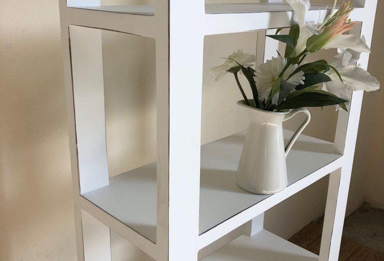 White Distressed Bookshelf
